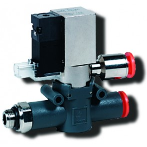 Line-On-Line Solenoid Valve 8mm to G1/8 with G1/8 Exhaust