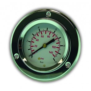 "Pressure Gauge 63mm Dia. 0-10B ar 1/4"" Back Entry Gly. Fill"