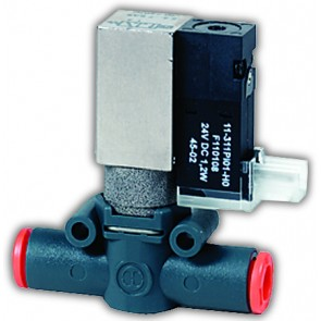 Line-On-Line Solenoid Valve 6mm 3/2 NC Silenced Exhaust