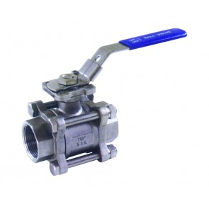 """BV3SS12P 3-PC Ball Valve with ISO Mounting Pad 1/2""""BSP Ports"""
